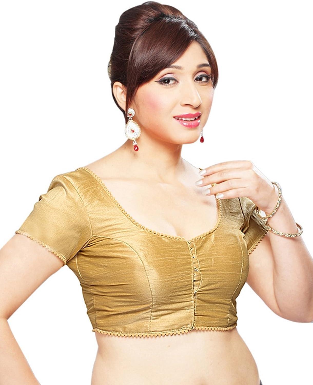 Dupian Silk Readymade Indian Saree Blouse Choli  X35 gold