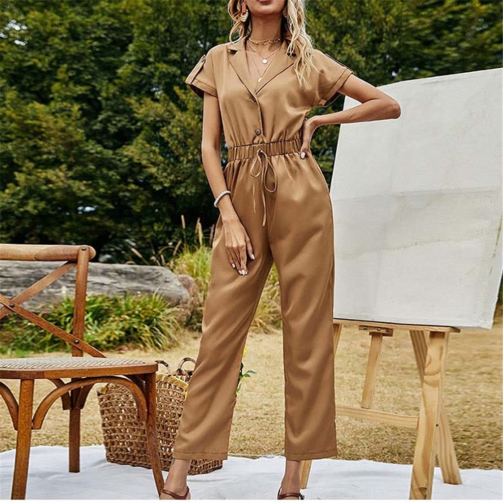 GPPZM Mail order cheap Women Summer Elegant V-Neck Short Sleeve Jumpsuits Casual Ranking TOP10