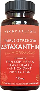 Astaxanthin 12mg - Daily Antioxidant Protection, Supports Skin Hydration & Firmness, Supports Heart & Immune Function, 60 ...