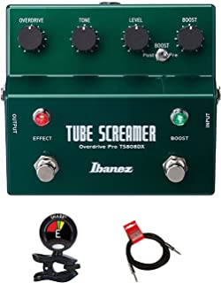 Ibanez TS808DX Tube Screamer Booster/Overdrive Guitar Pedal KIT With Guitar Clip On Tuner and Instrument Cable Bundle