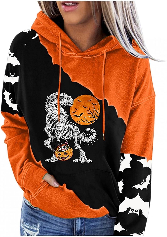 Vedolay Halloween Womens Hoodies Pullover Women's Halloween Print Long-Sleeved Hooded Sweatshirt Casual Blouse Pullover
