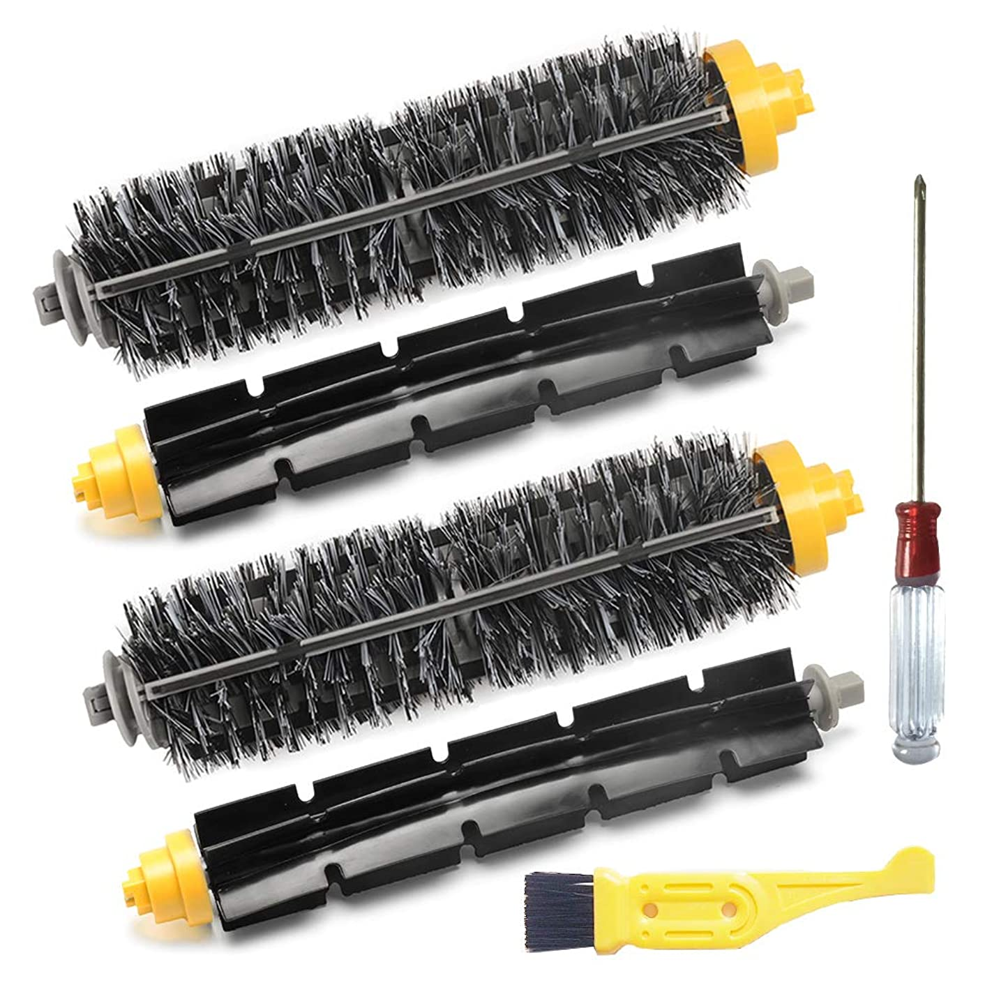 JUMBO FILTER Replenishment Kit for iRobot Roomba 600 700 Series 620 630 650 760 780 Vacuum Cleaner Attachment Include Bristle Brush & Flexible Beater Brush 4 Pack