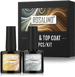 ROSALIND Base y Top Coat Semipermentes Esmaltes Semipermanentes de Uñas en Gel UV LED Gel Soak Off Manicura 10ml