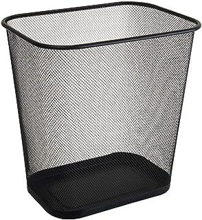 C-J-Xin Black Mesh Trash Can, Metal Light Weight Trash Meeting Room Living Room Bathroom Trash Bin Easy to Move Trash Can ...