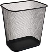 C-J-Xin Black Mesh Trash Can, Metal Light Weight Trash Meeting Room Living Room Bathroom Trash Bin Easy to Move Trash Can ...