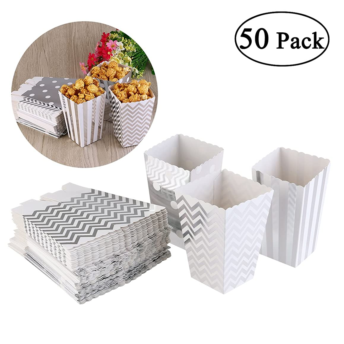 NUOLUX 50pcs Popcorn Boxes Yellow Design Trio Miniature Scalloped Edge Cardboard Party Candy Container Treat Cartons (Silver)