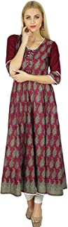 Women Anarkali Custom Kurti Indian Ethnic 3/4 Sleeve Cotton Kurta Blouse