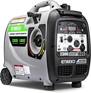 ENKEEO 2300W Generator Portable Inverter, Fuel Power Inverter Generators SC2300i Gas Petrol Powered Power Supply 120V 30A Output, Super Quiet Parallel Ready for Camping Travel