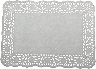 LJY 100 Pieces Off-White Lace Rectangle Paper Doilies Cake Packaging Pads Wedding Tableware Decoration (8