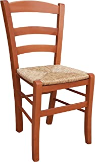 ok affarefatto zimbardi costanza Silla de madera maciza de color cerezo con asiento de paja para restaurante, casa, modelo Paesana robusta con patas de 36 x 40 mm ya montada