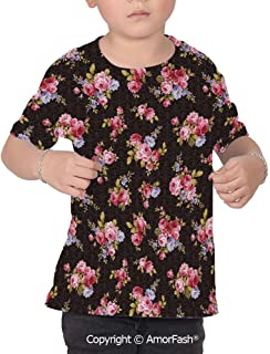 Rose Children's Classic Basic Printed Ultra Comfortable T-Shirt,Pattern with Ol