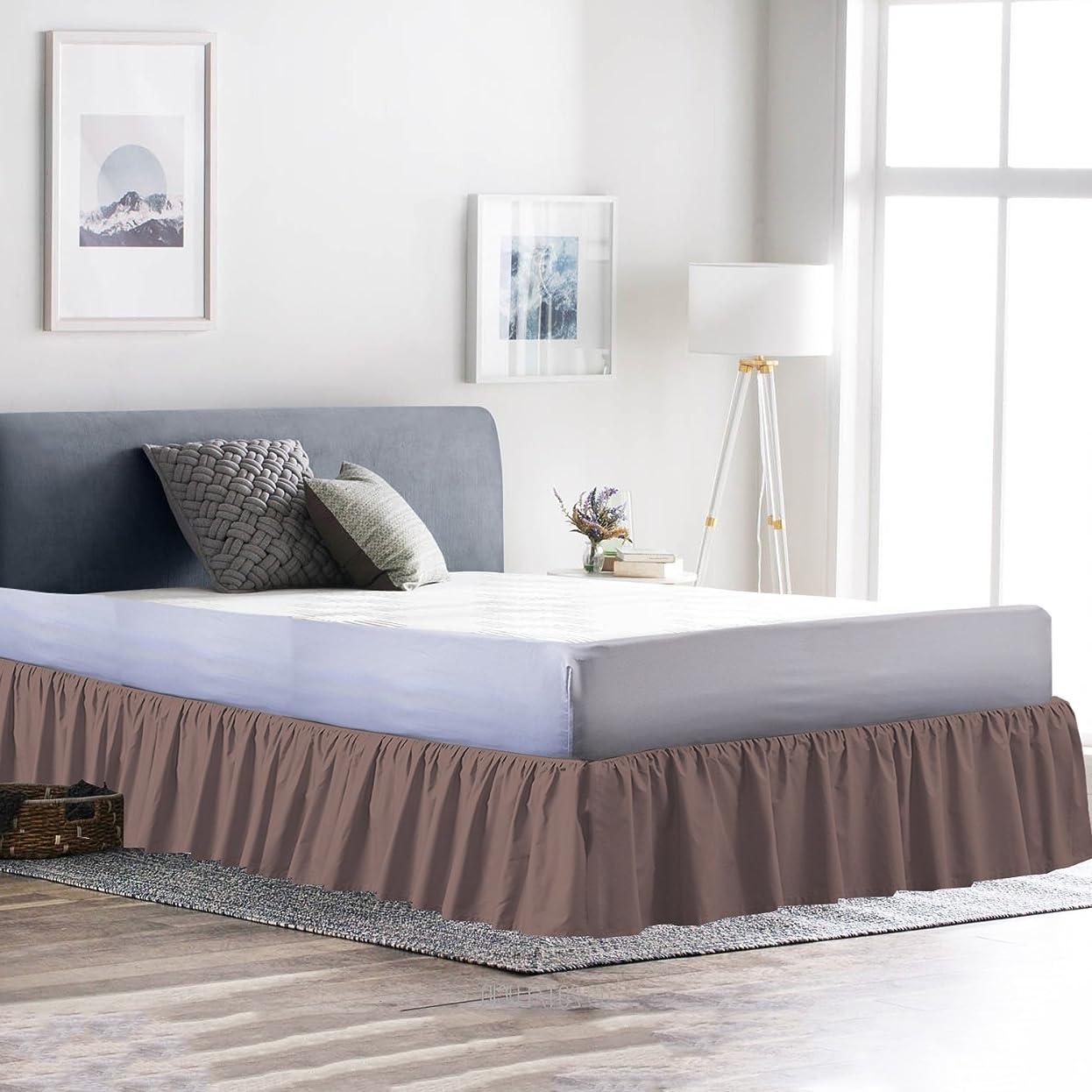 即席裁定厳フリル付きベッドスカート(カリフォルニアキング、キャメル) 14インチほこり用フリル付きプラットフォーム、しわ耐フェード(すべてのベッドで使用可能なサイズと16色)