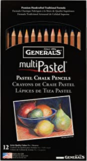 General Pencil 4400-12A General's Pastel Chalk Pencils, 12 Colors, Multicolor