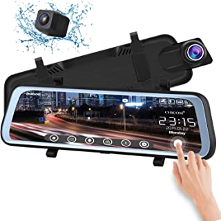 CHICOM V21 9.66 inch Mirror Dash Cam Touch Full Screen ; 1080P 170° Full HD Front Camera;1080P 140°Wide Angle Full HD Rear View Camera;Time-Lapse Photography