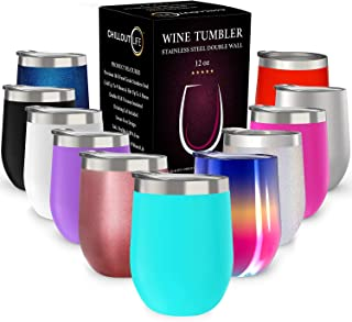 CHILLOUT LIFE 12 oz Stainless Steel Tumbler with Lid & Gift Box – Wine Tumbler..