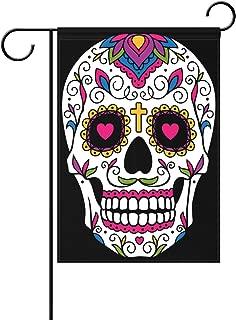 WOZO Floral Dia De Los Muertos Garden Flag Sugar Skull Mexican Black 12