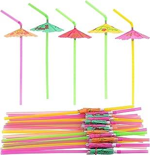 FEPITO 58 PCS Umbrella Drinking Straws,Parasol Bendy Drinking Straws for Hawaiian Beach Cocktail Luau Tropical Party Decorations Supplies