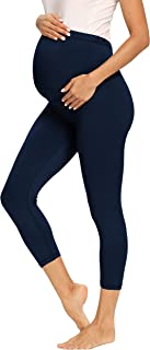 Foucome Women's Maternity Capri Over The Belly Comfortable Lounge Pants with Pockets