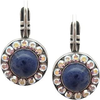 Mariana Swarovski Crystal Silver Plate Earrings Blue Stone Crystal AB Circle M1069 Mood Indigo