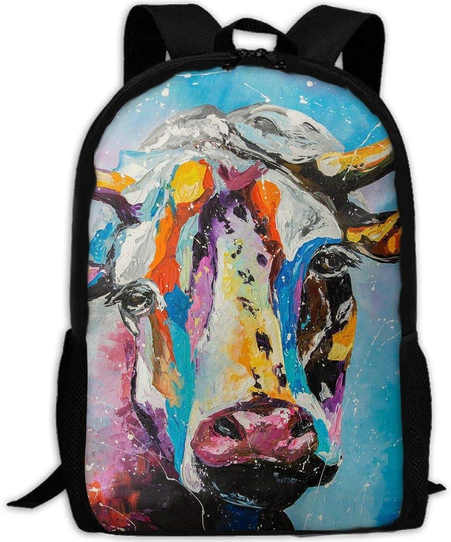 Adult Backpack color Cattle Print College Daypack Oxford Bag Unisex Business Travel Sports Bag with Adjustable Strap