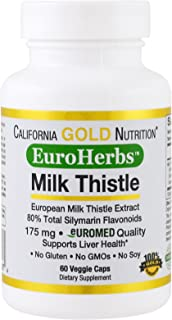 California Gold Nutrition, Milk Thistle Extract, 80% Total Silymarin Flavonoids, EuroHerbs, Clinical Strength, Supports Li...