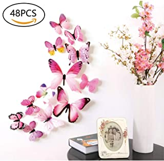 48 PCS Removable 3D Butterfly Wall Stickers Decals DIY Wall Art Decor Home  Wall Decoration Sticker