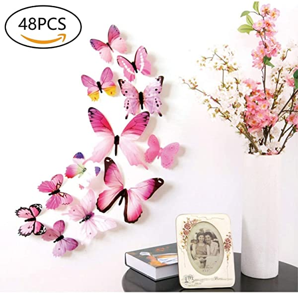 48 PCS Removable 3D Butterfly Wall Stickers Decals DIY Wall Art Decor Home Wall Decoration Sticker Mural For Kids Girls Children Bedroom Living Room Background Nursery Pink