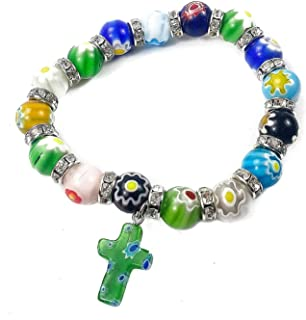 Nazareth Store Agate Colorful Flowers Beads Cross Bracelet Catholic Rosary Bangle Jerusalem Religious Christian Gifts for Boys Girls Jewelry for Women & Men