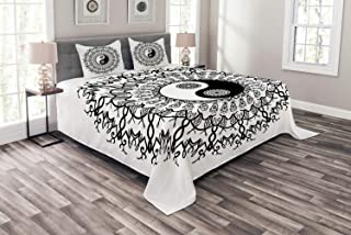 Ambesonne Ying Yang Bedspread, Vintage Yin Yang Mandala Pattern Motivational Oriental Bohemian Design, Decorative Quilted 3 Piece Coverlet Set with 2 Pillow Shams, Queen Size, Black White