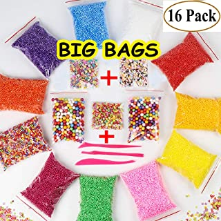 Foam Beads for Slime - Floam Beads, Foam Balls for Slime | with +[Fruit, Heart, Flower Printed Slices]+ 0.08-0.32 inch | 16 Pack 60000 pcs + 3 Tools for DIY Crafts