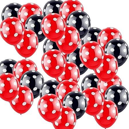 boogift 100 Pcs Globos Lunares Rojos, Globos Rojos con Puntos Blancos, Decoraciones de cumpleaños de Minnie Mouse Globos de Lunares para Bodas Fiestas Cumpleaños Decoración de Fiestas