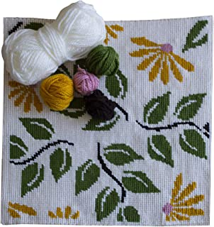 Kit de bordado para cojín   Cañamazo impreso de 40cm x 40 cm   Incluye lana y aguja de tapicería   Diseño Floral   de Delicatela