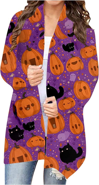 Cardigan Sweaters for Women Halloween Pumpkin Printed Shirt Open Front Long Sleeve Jacket Top Cute Casual Blouse