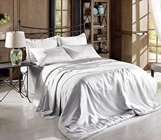 Hight Thread Count Solid Color Soft Silky Charmeuse Satin Luxury and Super Soft Bed Sheet Set (Silver Grey, Queen)