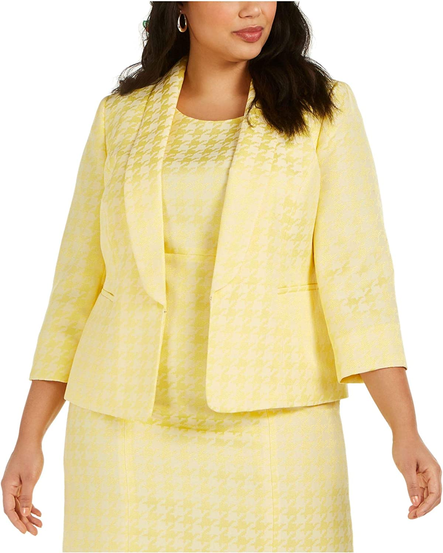 Kasper Womens Plus Houndstooth Suit Separate Blazer