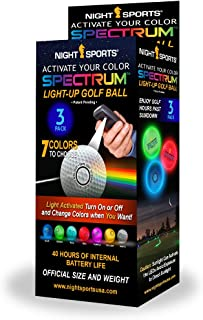 Night Sports Spectrum 3 Pack Light Activated 7 Color LED Golf Balls
