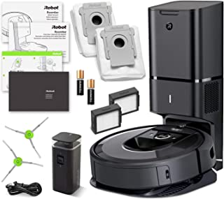 iRobot Roomba i7+ (7550) Robot Vacuum Bundle with Automatic Dirt Disposal - Wi-Fi Connected, Smart Mapping, Ideal for Pet Hair (+1 Extra Edge-Sweeping Brush, 1 Extra Filter)