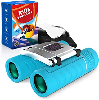 WayEee Jumelles Enfant, Kits Éducatifs de Télescopes, Kit Exploration d'enfants 8x22 (Bleu)