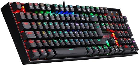 Redragon K551-RGB-UK Vara Teclado Mecánico RGB Teclado de Juego Retroiluminado 104 Teclado Iluminado Interruptores Azules Teclado para Juegos de PC Diseño de ABS en Metal (Diseño del UK)