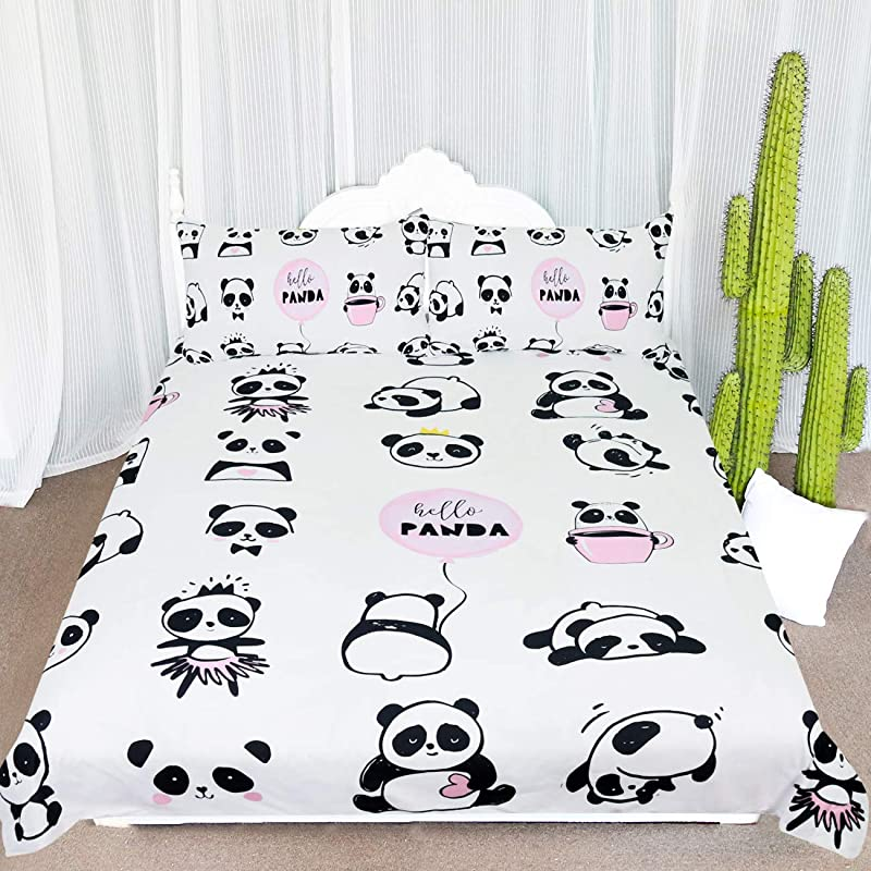 ARIGHTEX Panda Bear Bedding Twin Kawaii Panda Bedspread Kids Girls Cute Panda Bed Set 3 Piece Black White Pink Animal Bed Cover