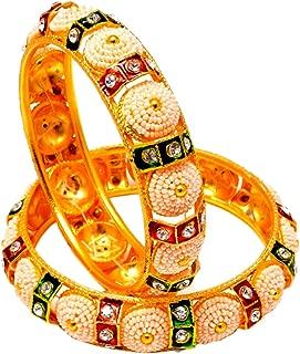 Jewar Bangle Set Kundan Ad Cz Multi Gemstones Jewelry For Women /& Girls 7972