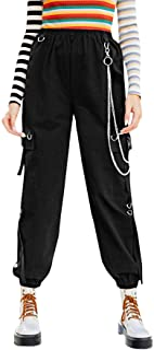 Milumia Women Elastic High Waisted Cargo Pants Jogger Workout Cropped Sweatpants