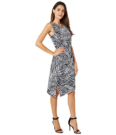 MICHAEL Michael Kors Zebra Crew Neck Drape Dress