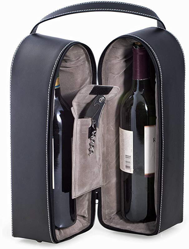Wine Carrier Dual Wine Caddy With Bar Tool Black Leather Wine Holder