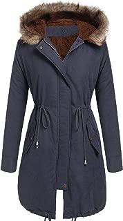 Women Winter Warm Hoodie Faux Fur Lined Down Parka Outdoor Long Jacket Coats