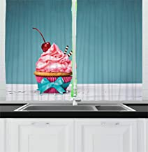 Lunarable Cake Kitchen Curtains, Cupcake with Pink Buttercream Icing and a Cherry on Top Ribbon Tied Swirling Frosting, Window Drapes 2 Panel Set for Kitchen Cafe Decor, 55