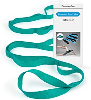 Scotamalone Yoga Strap, Multi-Loop Strap,Stretch Strap, Nonelastic Stretch Bands Exercise Bands Rehab Strap for Rehab,Stretching,Physical Therapy, Pilates,Dance,Gymnastics with Instructional Guide