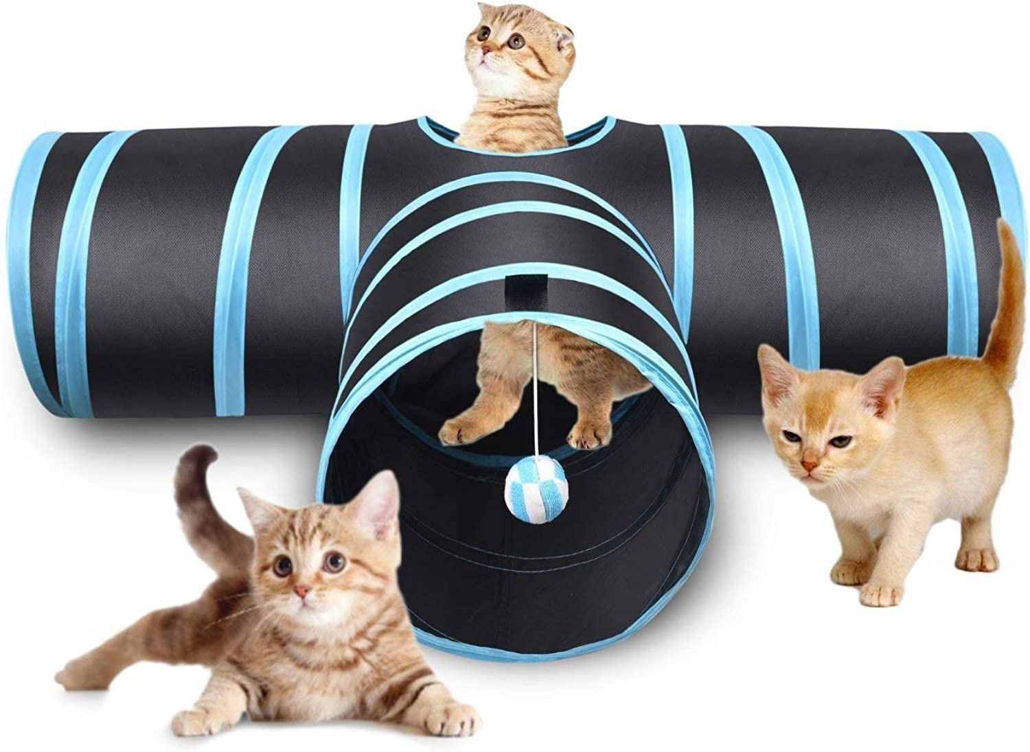 QCHOMEE Cat Tunnel Toys 3 Way Catch The Mouse Cat Puppy Kitten Rabbit Interactive Toys Collapsible Pet Play Tube Maze Toy with Ball