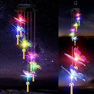 Solar Wind Chimes Light, Gifts for Mom Grandma Dad,Outdoor Butterfly Lights Waterproof Wind Chime for Outside,Birthday Gif...