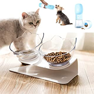Cat Bowl 15°Tilted Cats Food Water Bowls Pet Feeder Raised Elevated Double Feeding Dishes With Neck Guard Stand for Small ...